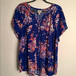 St. John floral blouse EUC 3X
